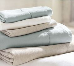 Linen Sheet Set #potterybarn Full Natural to go w/ rushed voile duvet cover set in ice blue $240