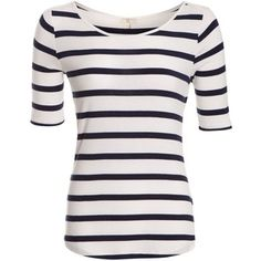 Navy and White Stripe 3/4 Sleeve Top - Polyvore