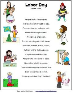 Labor Day Poem on Super Teacher Worksheets - Great resource for holiday worksheets! Teacher Worksheets, Kindergarten Worksheets, In Kindergarten, Kindergarten Social Studies, Social Studies Activities, Holiday Activities, Activities For Kids, Activity Ideas, Labor Day Crafts