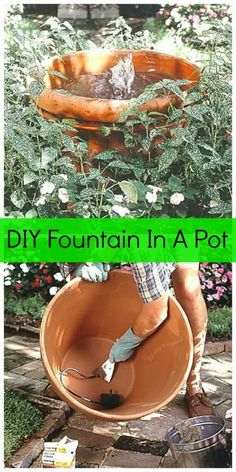 DIY fountain in a clay pot