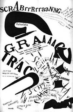 Marinetti - Palabras en libertad futuristas (1919)utiliza tipografías itálicas o cursivas para dar sensación de libertad y las bold para ruido y caos. Intenta expresar un sonido como el que encontramos en las onomatopeyas.