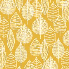 Line Leaf | Gold | CANVAS | Black :: Bark & Branch by Eloise Renouf for Cloud9 Fabrics for Cloud9 Fabrics