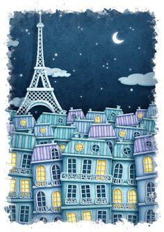 Paris by Day/Paris by Night by KJ Illustration, via Behance