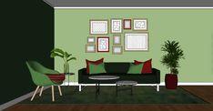 grønt og rødt interiør Ton-i-ton Kompementærfarger Fargetips Interiør og innredning Outdoor Chairs, Outdoor Furniture, Outdoor Decor, Home Decor, Decoration Home, Room Decor, Garden Chairs, Home Interior Design, Backyard Furniture