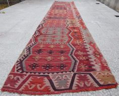 13'  Faded Pale Runner,Vintage Woven Extra Long Kilim Rug Entryway Hall Runner  #Turkish