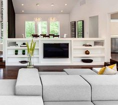What is Pony Wall Definition? ideas about use of pony wall. excellent examples of half wall and wall dividers ideas for pony wall decor Tv Wall Design, House Design, Tv Stand Room Divider, Home Theaters, Pony Wall, Stair Walls, Basement Walls, Sliding Room Dividers, Muebles Living