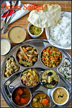 Onam Sadya (Onam Festival Lunch Menu) - Sambar, Rasam, Puliseri, Eriseri, Olan, Kalan, Aviyal, Kadamba thoran, Kadala Paruppu Pradaman, Pal Payasam, Thayir Pachadi, Rice and Pappad Veg Recipes, Indian Food Recipes, Vegetarian Recipes, Cooking Recipes, Healthy Recipes, Recipies, Onam Festival, Food Festival, Veg Thali