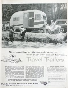 1958 ad Travel Trailer camper vardo caravan Mobile Home Manufacturers – Free U. shipping Vintage travel trailer ad, I like all those vintage ads, this one is neat, wish i was there! Vintage Rv, Vintage Caravans, Vintage Travel Trailers, Vintage Photos, Vintage Style, Retro Campers, Camper Trailers, Vintage Campers, Camper Caravan