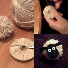 Over the last couple of days we've been making pom-poms, and added Shaun the Sheep-style faces to them. 😍 Making the pom-poms were a joint effort, while the black felt faces were c… Sheep Crafts, Yarn Crafts, Diy Crafts To Sell, Home Crafts, Art For Kids, Crafts For Kids, Shaun The Sheep, How To Make A Pom Pom, Pom Pom Crafts