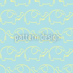 Elephant March designed by Tanya Laporte, vector download available on patterndesigns.com Vector Pattern, Pattern Design, Cute Elephant, Surface Design, March, Baby Shower, Neon Signs, Patterns, Babyshower