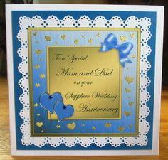 Card Gallery - Mam and Dad Sapphire Wedding Anniversary Wavy Corner