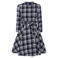 Stand Collar Tie-Waist Plaid Dress, CADETBLUE, XL in Vintage Dresses | DressLily.com