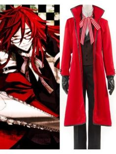 Black Butler Kuroshitsuji Grell Sutcliff Red Suit Cosplay Costume $95.59