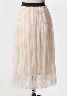 Ruche white long pleated flowy skirt