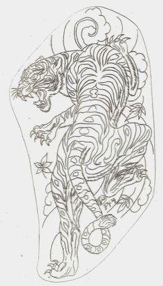 Tiger Tattoo Small, White Tiger Tattoo, Japanese Tiger Tattoo, Tiger Tattoo Design, Dragon Tattoo Outline, Dragon Tattoo Flash, Dragon Tattoo Designs, Dragon Tattoo Stencil, Traditional Japanese Tattoo Flash