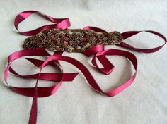 Burgundy and Bronze Beaded Sash