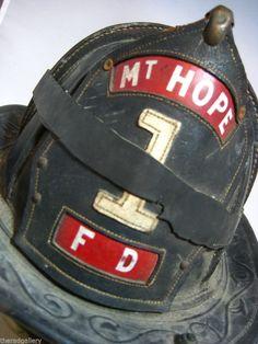 Vintage Cairns & Brothers Leather Fire Helmet Firemans Hat Mt Hope #1 FD