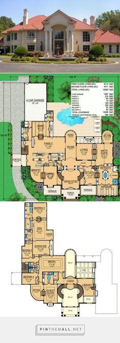 Ft Herrenhaus - House Floor Plans - Home Design House Plans Mansion, Luxury House Plans, Dream House Plans, House Floor Plans, Luxury Floor Plans, Mansion Designs, Casas The Sims 4, Mediterranean House Plans, Mansions Homes