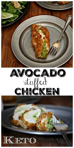 Keto Avocado Stuffed Chicken could just as easily be called guacamole chicken. Juicy chicken breasts filled with creamy avocado. Rolled, dunked then dredged in crushed pork rinds making it low carb and keto friendly. It's all topped off with a creamy cheese sauce that brings the whole dish together. Easy enough for any weeknight meal and elegant enough for entertaining. #chicken #avocado #keto #ketorecipes #stuffedchicken #lowcarb