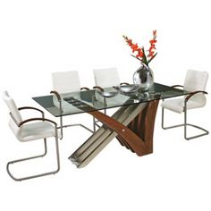 Akasha Glass Top Walnut Dining Table