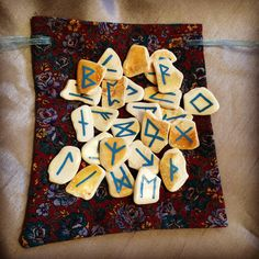 Seashell Runes hand painted by #Wildseawitch. #Divination #Runes #Norse