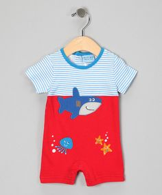 We can't imagine anything cuter for a little guy - Red Shark Romper by Carter's Watch The Wear on #zulily
