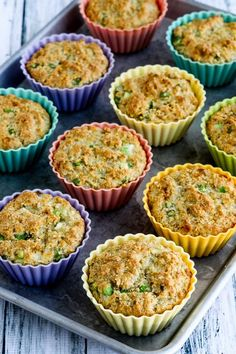 Low-Carb High-Fiber Savory Muffins (Video) – Kalyn's Kitchen Keto Breakfast Muffins, Savory Breakfast, Healthy Muffins, Low Carb Breakfast, Breakfast Recipes, Breakfast Ideas, Dessert Recipes, Breakfast Biscuits, Nutrition Education