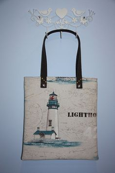 lighthouse prints large diaper bag/  large tote bag/ by leyyabags, $40.00