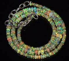 """35 Tcw 2 to 5.5 mm 16"""" Natural Ethiopian Welo Fire Opal Necklace ---122"""
