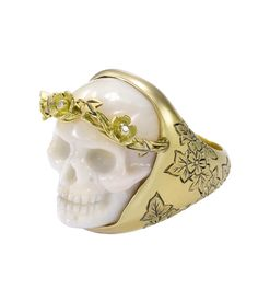 Coral ivy and blossom skull ring by Theo Fennell; the skull is a memento mori; ivy symbolises the bonds of affection. (Theo Fennell)