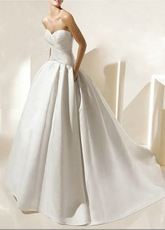 Simple Satin Ball Gown Strapless Sweetheart Wedding Dress