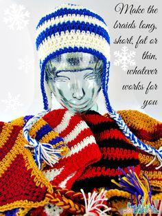 Free Crochet Ear Flap Beanie Hat Pattern. Free pattern here: http://www.redheart.com/free-patterns/team-cheers-earflap  ☀CQ #crochet   http://www.pinterest.com/CoronaQueen/crochet-apparel-corona/