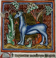 An elegant blue monocerus stands looking not so fierce. Bodleian Library, MS. Bodley 764, Folio 22r