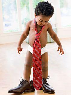 Big shoes for little boy