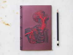 Anatomy Journal. Embroidered A5 Notebook. Dark Red Blood Circulation Book. Science Art Journal. Anatomical Book. Stitch Art. Medicine Art