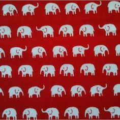 Mini Elephants in Red Elephants, Mini, Fabric, Red, Cotton, Design, Tejido, Tela
