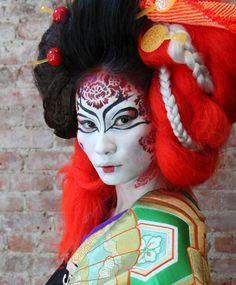 geisha halloween makeup, face, geisha make up, colored hair, halloween costumes, geishas, art, makeup ideas, imat finalist