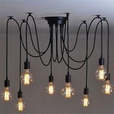 InTheHouse Rétro DIY Plafonnier Lustre Lampe Suspension Luminaire Ajustable Déco Maison Bar 10 Douilles: Amazon.fr: Luminaires et Eclairage