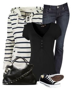 """""""Striped Hoodie and Tennis Shoes"""" by daiscat ❤ liked on Polyvore featuring Fat Face, Express, Converse and Steve Madden"""