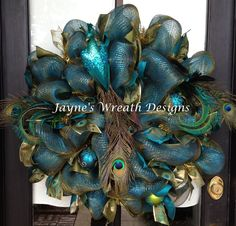 Beautiful Deco Mesh Peacock Wreath. Great for Christmas!: