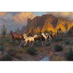 This Western Canyon 1000 piece puzzle features cowboys and wild horses. West Art, Cowboy Art, Horse Drawings, Le Far West, Equine Art, Horse Pictures, Wildlife Art, Horse Art, Wild Horses