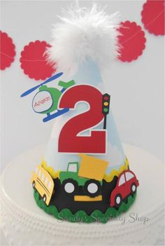 Handmade Party Goods for your Sweet Little Celebrations by SandysSpecialtyShop 2nd Birthday Party For Boys, Baby Birthday Cakes, Toy Story Birthday, Birthday Party Themes, Car Birthday, Car Themed Parties, Mouse Parties, Cloud Party, Transportation Birthday