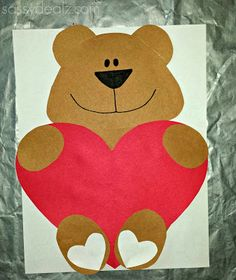 """Valentine craft for kids - Bear holding a heart. """"I Love You Beary Much"""" #Cute valentine card #Love art project 