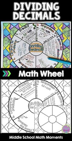 Dividing Decimals: Math Wheel for Decimal Division Decimal Division, Math Division, Math Tutor, Teaching Math, Teaching Aids, Math Notebooks, Interactive Notebooks, Math Classroom, Math Math