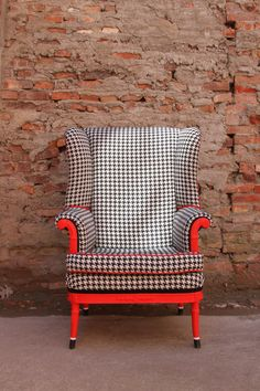 Edgy Vermillion Houndstooth Wingback Chair