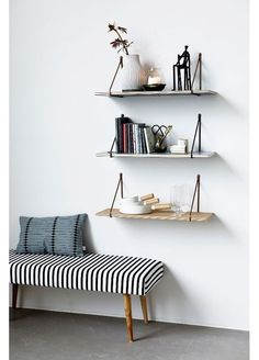 Best DIY Furniture & Shelf Ideas 2017 / 2018 House Doctor Moments Collection A/W 2014 -Read House Doctor by Gosto design I've done these shelves with ribbon, would be beautiful wit House Doctor, Estilo Interior, Interior Styling, Interior Decorating, Diy Interior, Oak Wall Shelves, Shelving, Hanging Shelves, Suspended Shelves