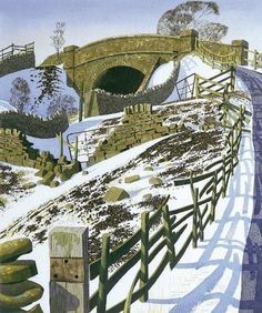 Pennine Railway - Simon Palmer(b Landscape Art, Landscape Paintings, Uk Landscapes, Gravure Photo, Snow Scenes, Art Graphique, Wood Engraving, Painting & Drawing, Illustration Art