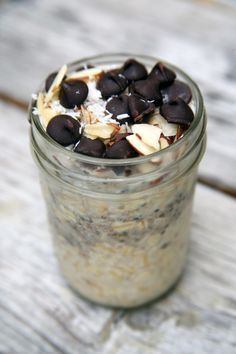 Not a morning person? Make this amazing overnight oats recipe before slipping under the covers, and the thought of the sweet and chewy coconut oatmeal, crunchy almonds, and chocolate chips will practically pull you out of bed.