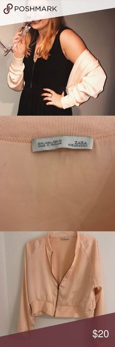 5ffb8fe5 ZARA Blush pink cropped bomber jacket Worn but in good condition. Made of  silky .