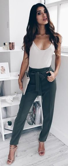 #summer #outfits Beige Tank + Dark Bow Pants